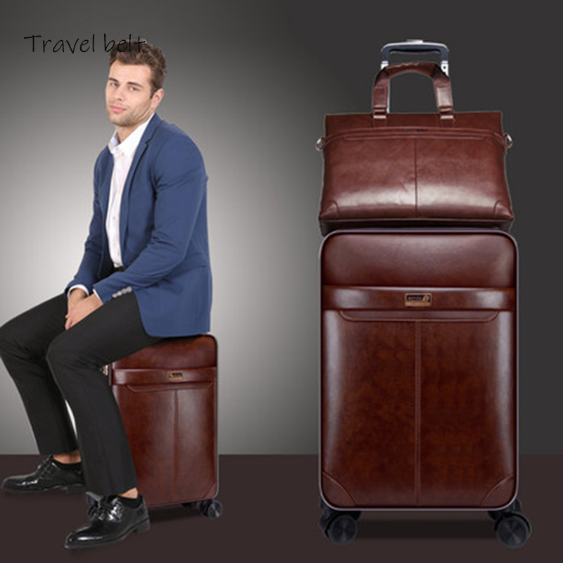 Travel Belt Women Retro PU Leather 16 20 24 inch Rolling Luggage Sets Spinner Men Business