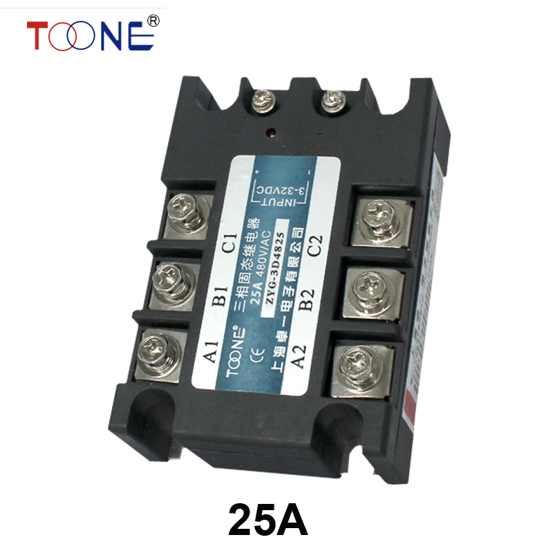 Three phase solid state relay DC to AC SSR-3P-25 DA 25A SSR relay input DC 3-32V output AC480V mgr 1 d4825 single phase solid state relay ssr 25a dc 3 32v ac 24 480v