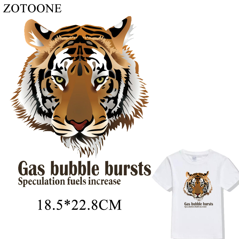 US $1 7 15% OFF|ZOTOONE Tiger Iron On Patch Applique Tiger Embroidered Iron  on Transfers Letter Patches For Clothes Decoration A level Washable-in