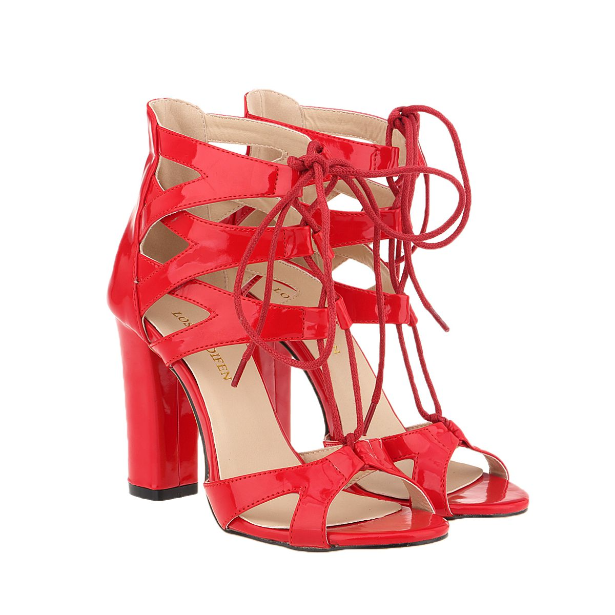 New 2016 Fashion Women Shoes Sandals Shoes Square Open Toe Ankle Straps Thick High Heels Summer BRIDAL PATENT LEATHER 368A-PA new fashion women casual shoes women sandals 2016 thick high square heels sandals black flock pumps