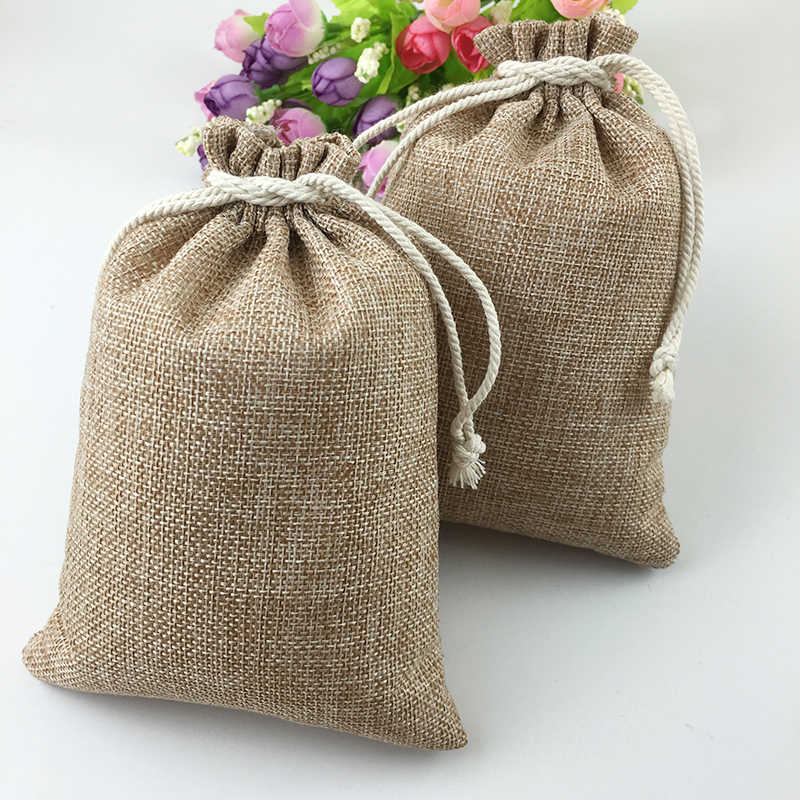 20pcs Vintage Natural Burlap Hessia Gift Candy Bags Wedding Party Favor Pouch Birthday Supplies Drawstrings Jute Gift Bags