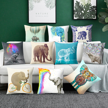 3D Elephant Print Cushion Cover Mandala pillowcase Multicolor Pillowsilp for Sofa Chair Decor Animal pillow home decoration