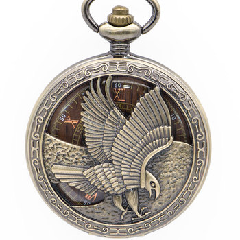 Drop Shipping Retro Bronze Eagle Carving Mechanical Pocket Watch Mens Necklace Fob Steampunk Pocket Watches Analog For Gift