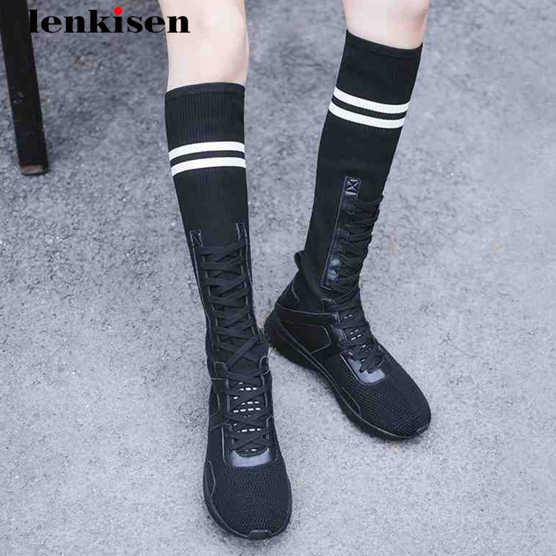 Lenkisen knitting med heels causal women shoes genuine leather cross-tied elegant concise mixed color leisure summer boots L88