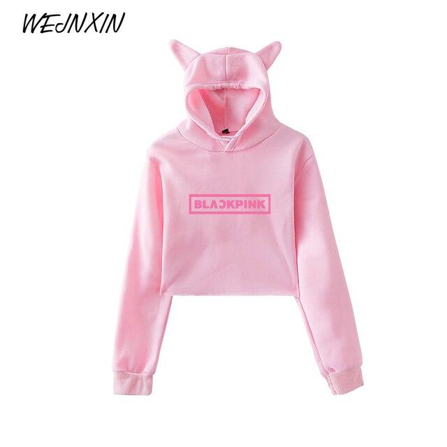 WEJNXIN Kawaii Cat Ear Hoodies Women Kpop Fans Support Sweatshirt Ladies BLACKPINK