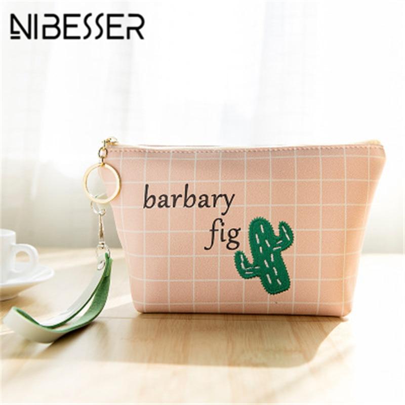 NIBESSER Cactus Embroidery Women Cartoon Bag Check Print Girls Purse Cute Money Bag Change Pouch Coin Key Holder Portable Wallet
