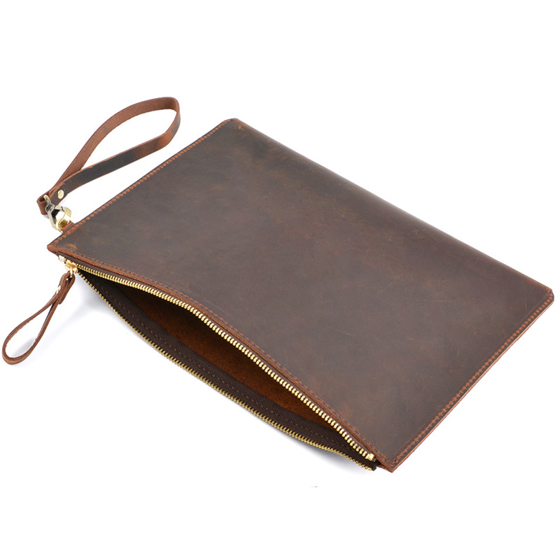 A5 Leather Document Bag Nature Cow Leather File Folder File Bag For Papers Storage Office Supplies Filing Products