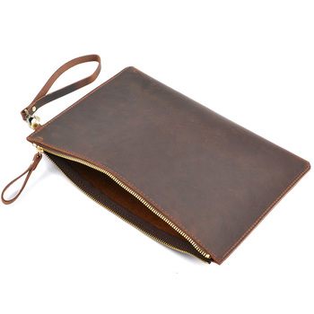 цены A5 Leather Document Bag Nature Cow Leather File Folder File Bag For Papers Storage Office Supplies Filing Products