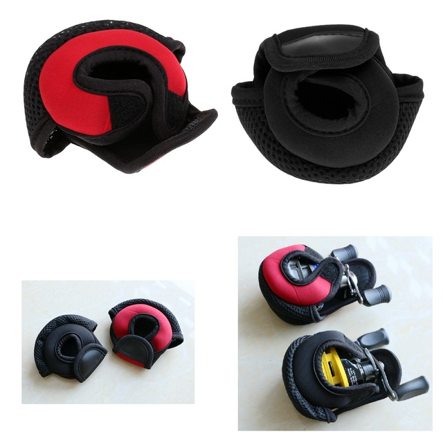 Kołowrotek wędkarski do rzucania przynęty osłony tarczy neoprenowy pokrowiec na kołowrotek odporny na zużycie kołowrotek torby czerwony/czarny 3.9x3.1x2.8 cala