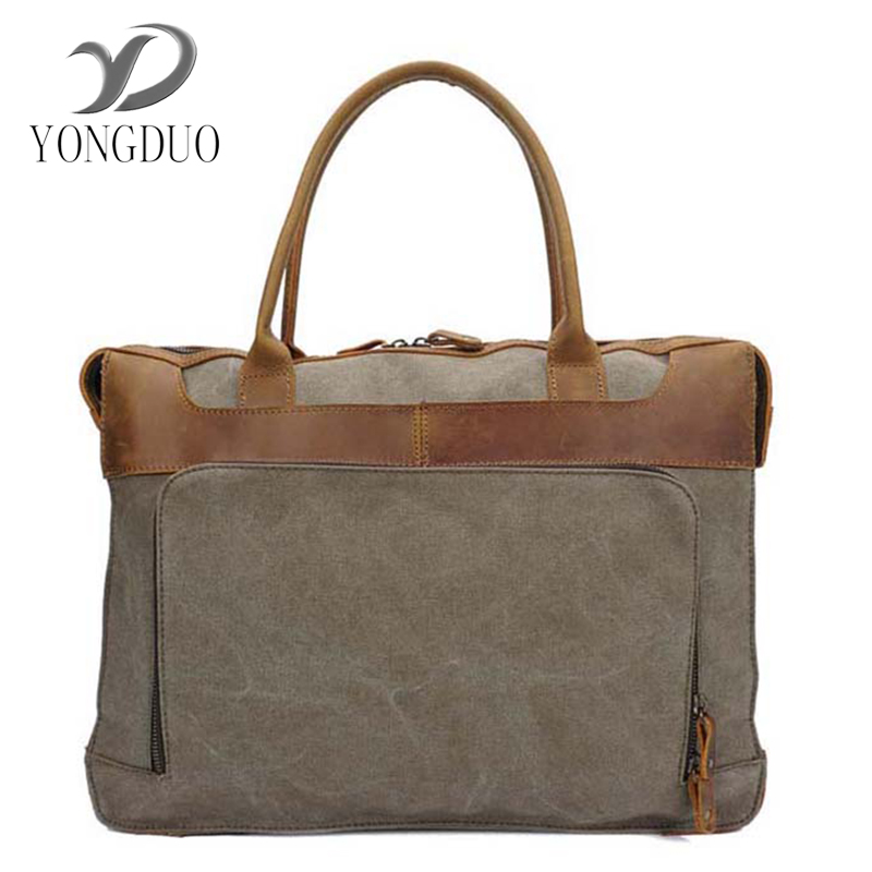 YONGDUO New 2017 Retro Men Briefcase Business Shoulder Bag Canvas&Cowhide Messenger Bags Man Handbag Tote Bag Casual Travel Bag vintage crossbody bag dark khaki canvas shoulder bags men messenger bag man casual handbag tote business briefcase for computer