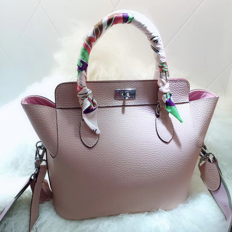 Women 39 s new leather lychee pattern bag Europe and the first layer of leather doctor bag dumpling type milk box package in Top Handle Bags from Luggage amp Bags