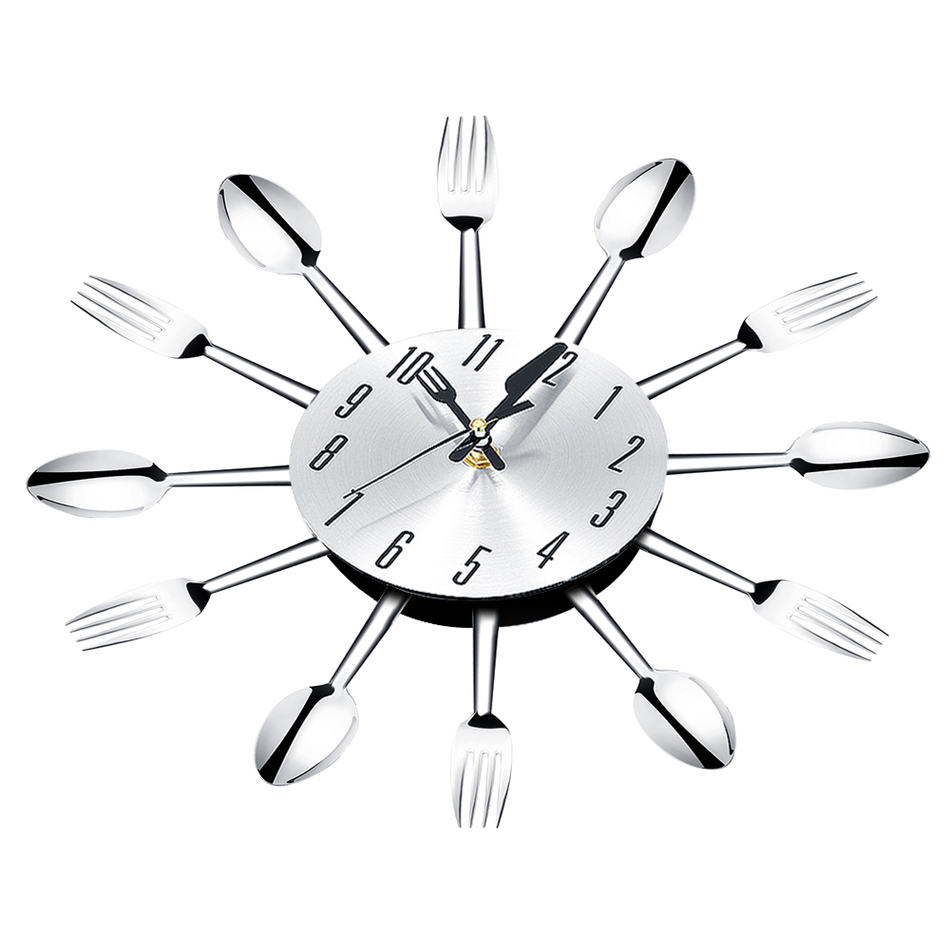 Brief Modern Large Wall Clock Stainless Steel Kitchen Wall Watch ...