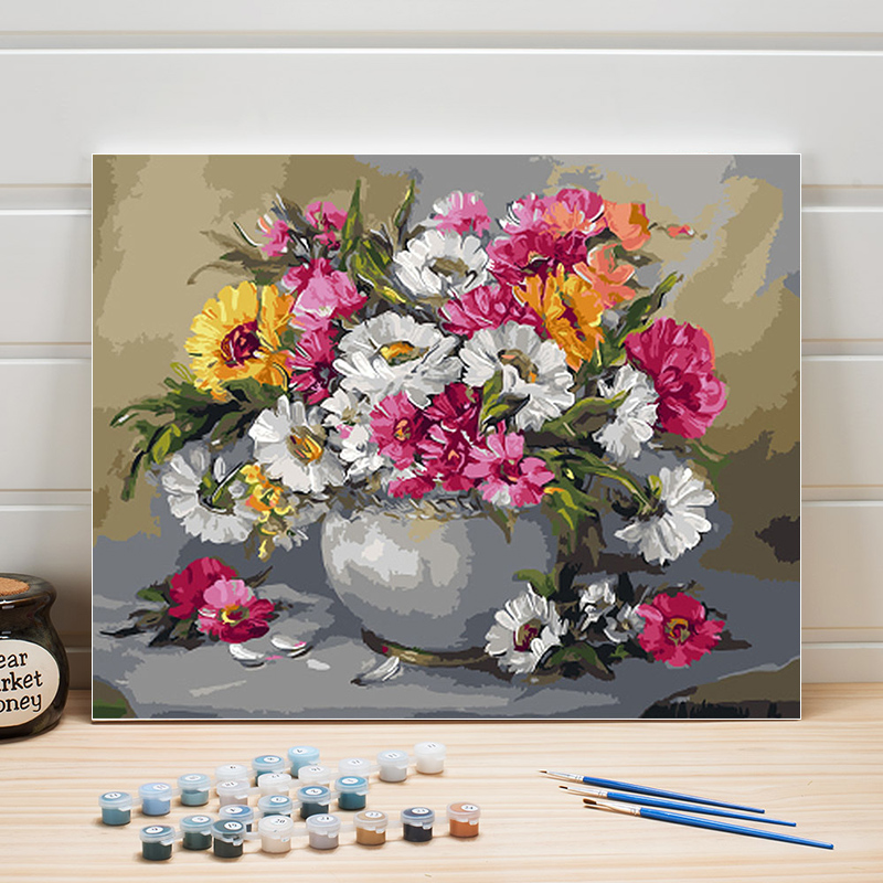 Flowers Drawing By Number 40x50 One Piece Paint Acrylic Still Life Canvas Painting Numbers Wall Pictures For Living Room Adults