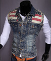 Men's Fashion Slim Fit Denim Vest Jeans Jacket chaleco hombre Sleeveless Punk Style Water Wash Destroyed Waistcoats Clothing