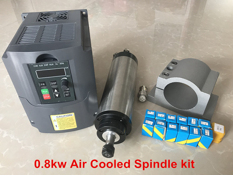 2018 CNC Router Spindle 800W Air Cooled Spindle Kit 0.8KW Motor + 1.5KW 220W Inverter 65mm Clamp 13pcs ER11 Collet water cooling spindle sets 1pcs 0 8kw er11 220v spindle motor and matching 800w inverter inverter and 65mmmount bracket clamp