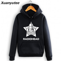 Hoodies Men Rock Style HipPop Streetwear Fleece Cotton Hoodie Radiohead Punk Black Pullover 2XL Sweatshirts RADIOHEAD THOM YORKE