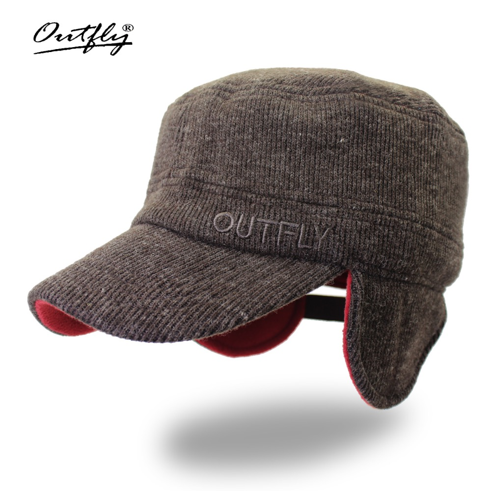 Outfly Warm Helmet Hat Bomber Hats Leisure Outdoor Sports Ski Flat Cap Wool Winter Hats Ushanka Russian Hat title=
