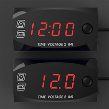 New TIME VOLTAGE 2 in 1 Car LCD Digital Electronic Clock Voltmeter