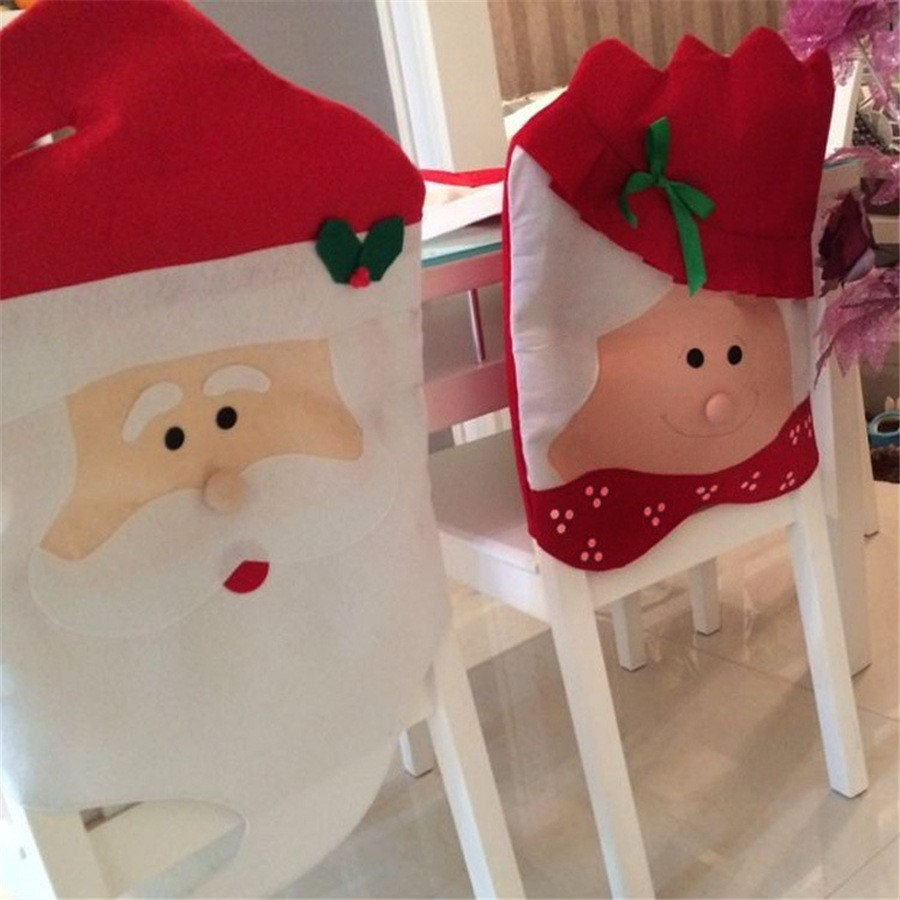 Mr and Mrs Christmas Kitchen Chair Covers Santa Claus Christmas Decoration For Hotel Restaurant Dinner Chair Decor gift 1pc/2pcs