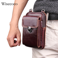 purse man phone belt case for iphone 8 7 plus Brown Genuine Leather Wallet Bag Luxury Waist Pack Universal Pocket for iphonex 10