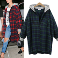 New XL-4XL 2017 Fashion Women Blouses Long Sleeve Hooded Plaid Shirts Women Casual Cotton Checked Shirt Oversize Blusas Feminina