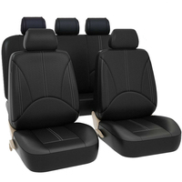 Universal Leather Car Seat Cover Full Set Black Protector Fit 5 Seat Truck SUV Seat Cushion Mat Protector Kit