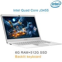 "P9-09 silver 6G RAM 512G SSD Intel Celeron J3455 22"" Gaming laptop notebook desktop computer with Backlit keyboard"