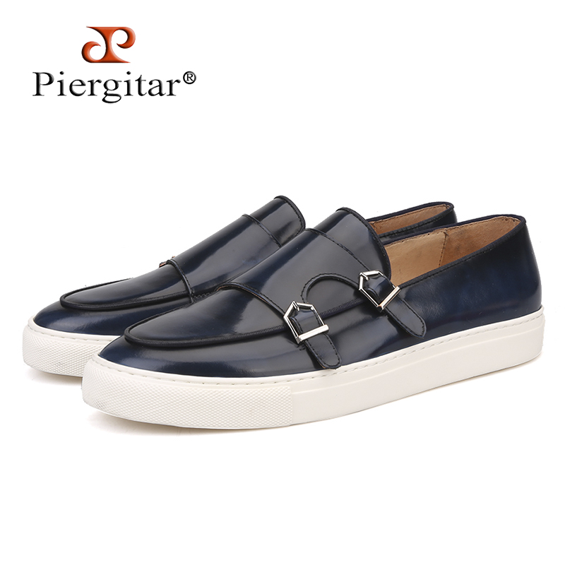Piergitar 2018 New Handcrafted Navy blue mixed colors Genuine Leather Men Loafers Sporty style Slip on