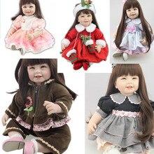 Для 55 см 22 »силиконовые reborn baby куклы Одежда для девочек виниловые Детские куклы аксессуары DIY платье детский день подарок Горячая Распродажа