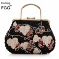 Women Socialite Metal Frame Multi Beaded Totes Handbags Clutch Bridal Wedding Silver Embroidery Sequins Evening Clutches Bag