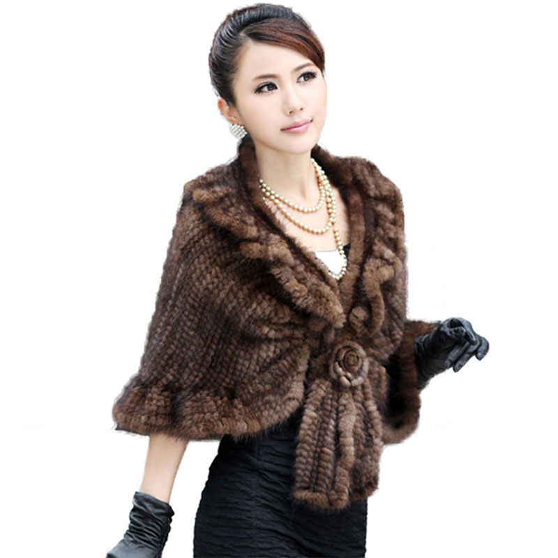 GTC201 Fashion Female Winter Warm Ruched Knitted Mink Fur Shawls Capes For Women Real Fur Stole Wraps Coats Amices