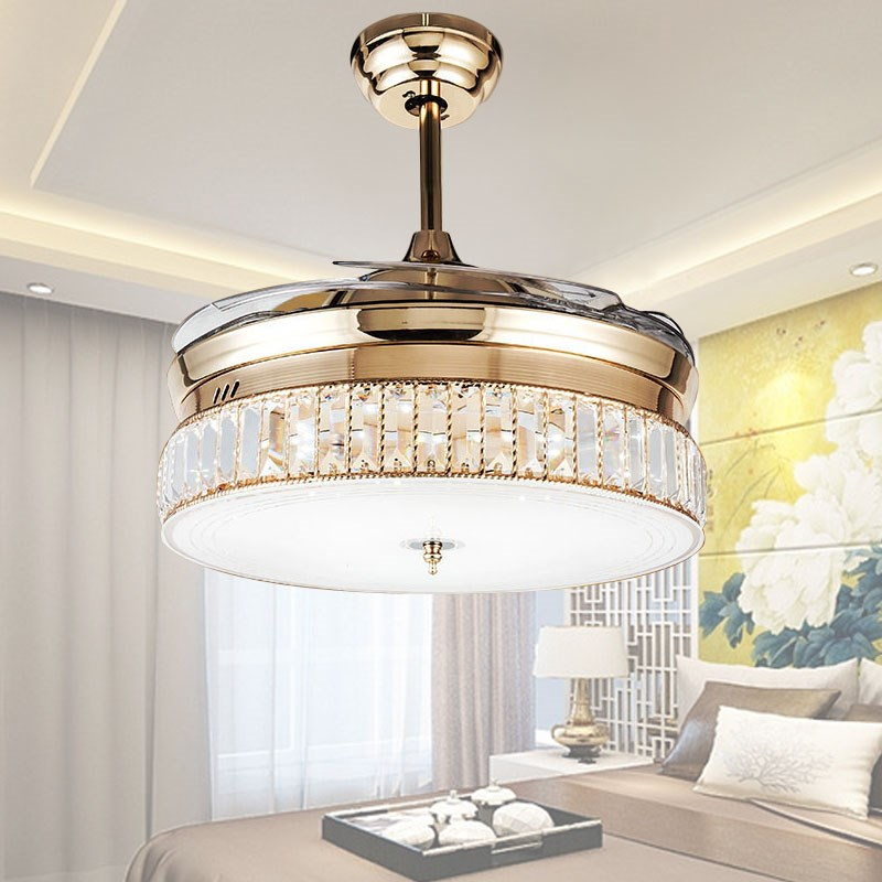 36inch 42inch k9 crystal ceiling fans with lights modern - Bedroom ceiling fans with remote control ...