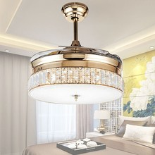 36inch 42inch K9 Crystal Ceiling Fans With Lights Modern Bedroom Living Room Folding Fan Remote Control Lamp 110-240v