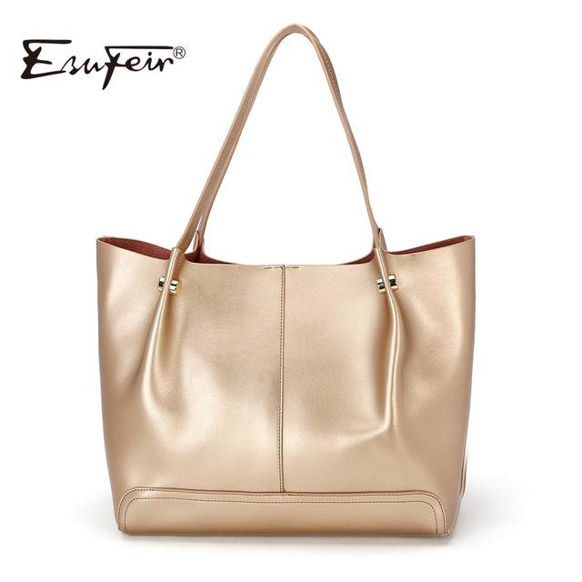 ESUFEIR Brand Bag Women Genuine Leather Handbag Fashion Solid Color Cowhide Shoulder Bag Large Casual Tote Composite Women Bag