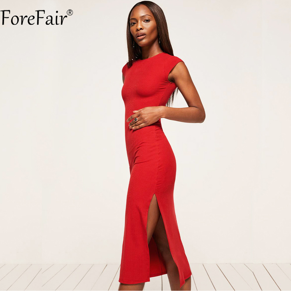 ForeFair Black Red Cotton Knitted Women Long Autumn Dress Sexy High Split Bodycon Club Party Dresses