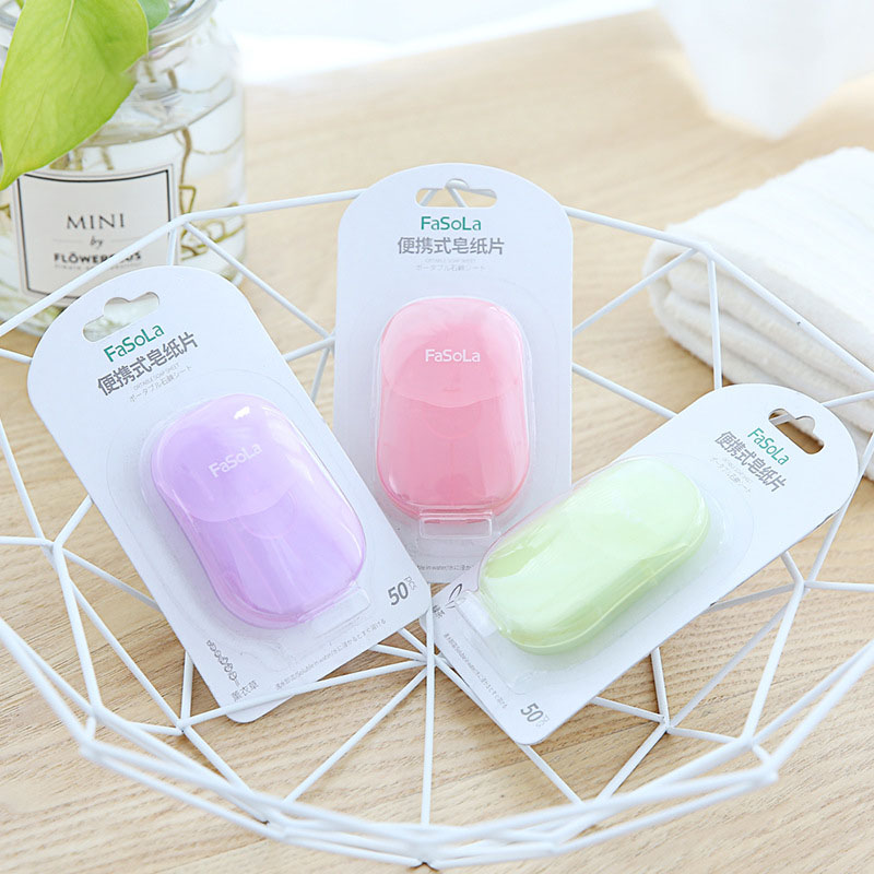 50 Pieces/box Portable Mini Paper Soap Outdoor Travel Soap Paper Washing Hand Bath Clean Scented Slice Soap Sheets