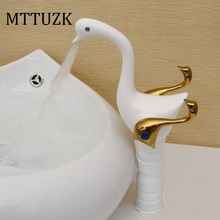 MTTUZK Бесплатная доставка Моды позолоченные медные Европейские антикварные кран лебедь смеситель горячей и холодной умывальник кран torneira