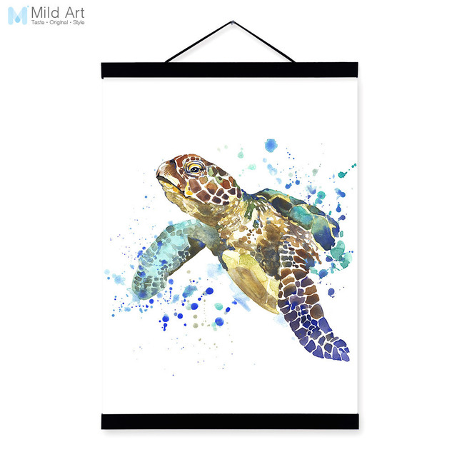 Us 7 98 47 Off Sea Turtle Watercolor Fashion Animal Portrait Wood Framed Canvas Painting Wall Art Print Picture Poster Children Room Home Decor In