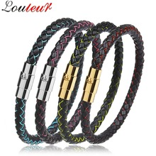 LOULEUR Fashion Genuine Leather Bracelet for Men Women Stainless Steel Magnetic Clasps Mens Bracelets Bangles Jewelry Pulseras