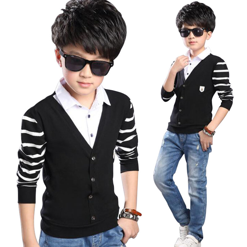 2018 Fashion Kids Boys T-Shirt Baby Boys Clothes T-Shirt Long Sleeve Tops Children Fake Two T-Shirts Boys T-Shirt Clothing voile panel stripe long sleeve t shirt