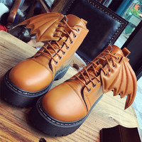 Yomior New Women Winter Boots Shoes Oxfords Lace-Up Round Toe Wing Casual Ladies Platform Shoes Woman Snow Boots Wedges