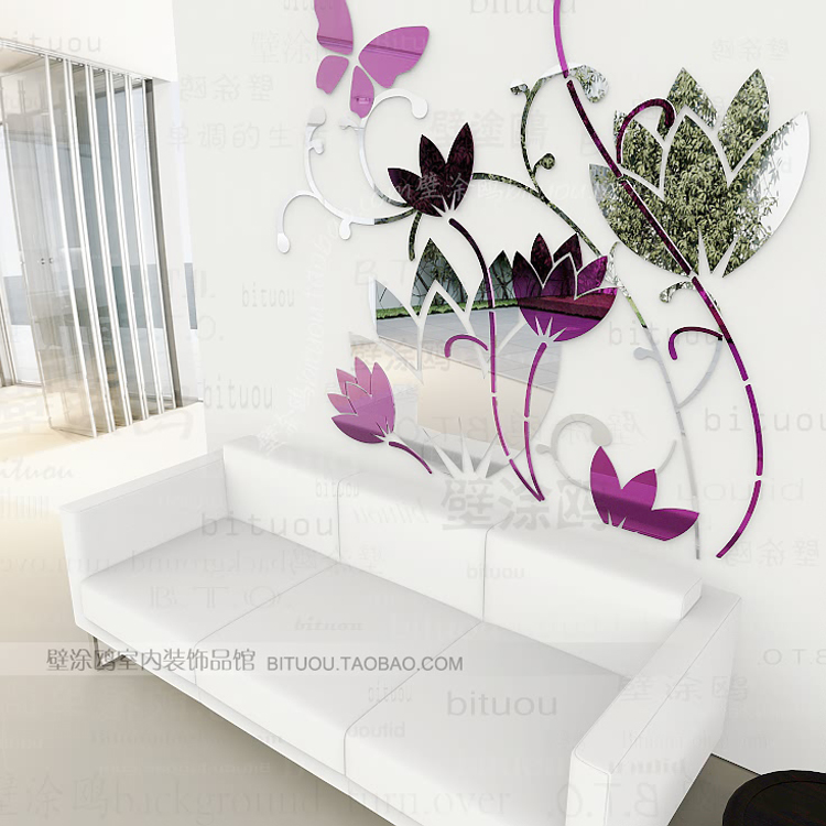 wholesale luxury ikea diy acrylic 3d wall mirror stickers. Black Bedroom Furniture Sets. Home Design Ideas