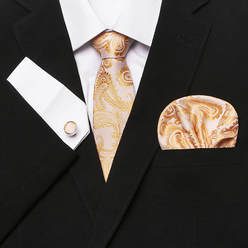 Gold Novelty Tie Hanky Cufflinks Sets Mens 100% Silk Ties for men Formal Wedding Party Groom