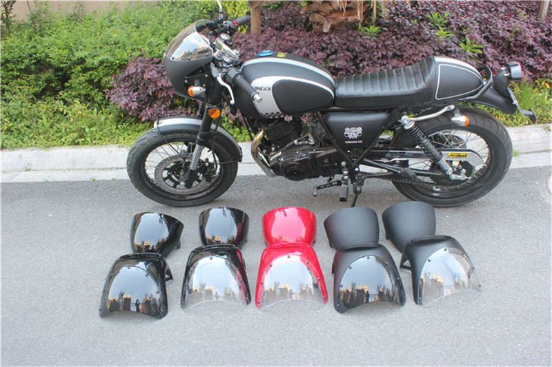 RETRO CAFE RACER STYLE HANDLEBAR FAIRING & SCREEN UNIVERSAL FIT 7 HEADLIGHT with SEAT COVER