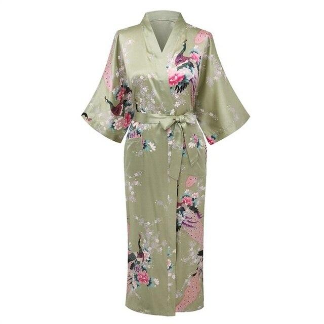 Новое Прибытие Светло-Зеленый Женщины Район Кимоно Юката платье Невесты Свадьба халат Ночная Рубашка Пижамы Цветок Sml XL XXL XXXL ZS08