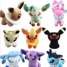 2018 Free Shipping 9Pcs/Lot Anime Vaporeon Jolteon Flareon Espeon Umbreon Leafeon Glaceon Sylveon Eevee Plush Toys 12cm