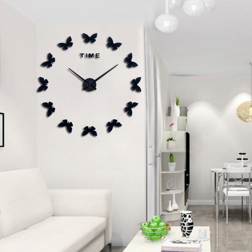 2019 muhsein Nowe naklejki ścienne Home Decor Plakat Diy Europa Akryl Duża naklejka 3d Martwa natura Zegar ścienny Zegar motyl