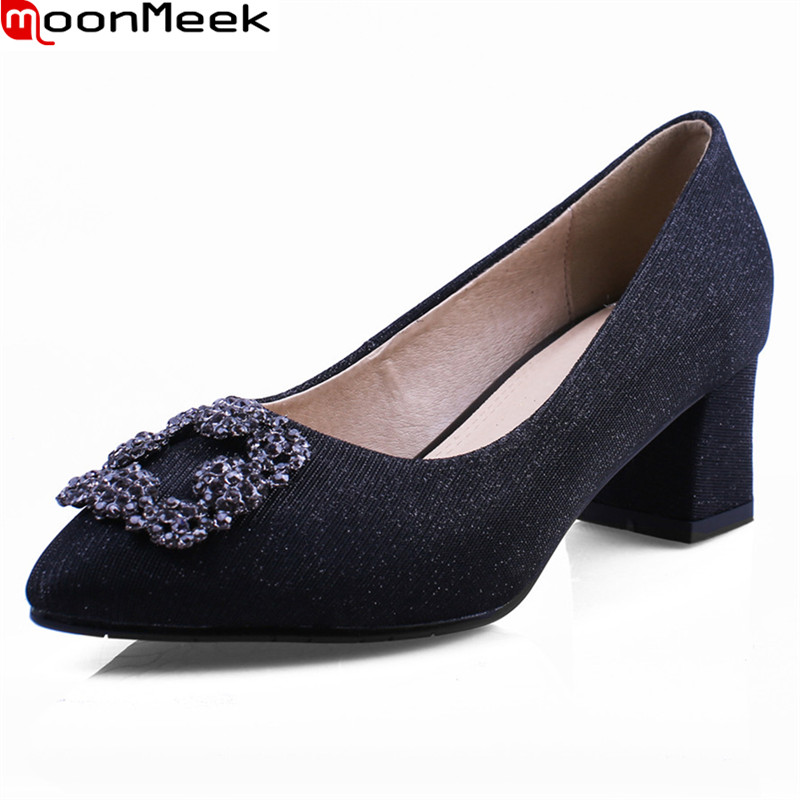 MoonMeek sexy female fashion pumps pointed toe square heels slip on shallow with crystal extreme high heels party woman shoes