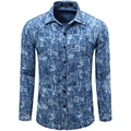 2016 New Printed Denim Men Shirts Fashion Casual Designer Brand Chemise Homme Floral Shirts vT0060