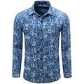 2016 Nuevo Impreso Denim Hombre Camisetas Fashion Designer Casual Brand Chemise Homme Camisas Floreadas vT0060